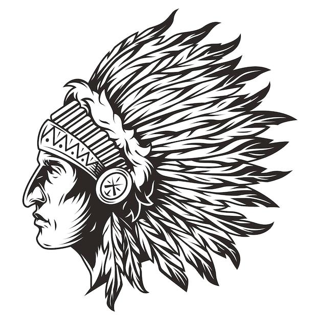 Native American Indian Szef Ilustracja Głowy Darmowych Wektorów