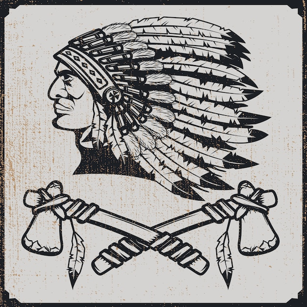 Native American Naczelny Szef W Tradycyjnym Nakryciu Głowy Z Tomahawkami. Element Premium Wektorów