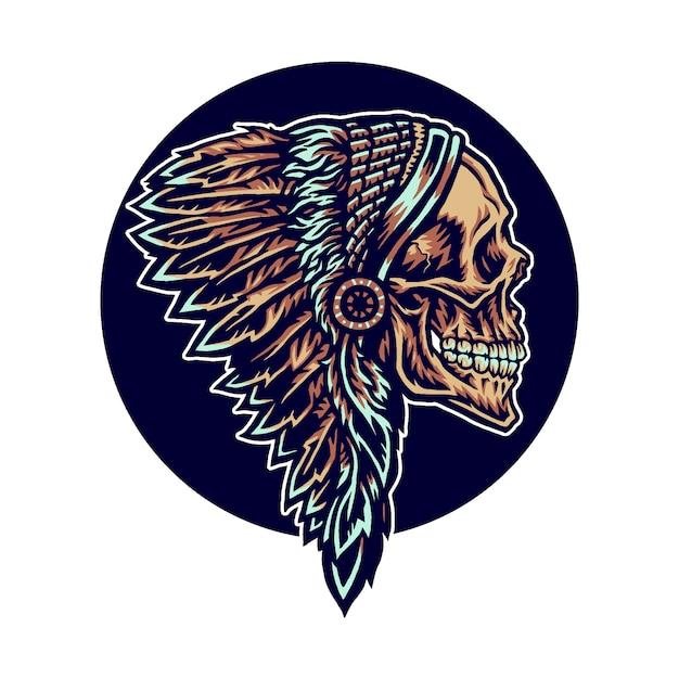 Native American Skull Premium Wektorów