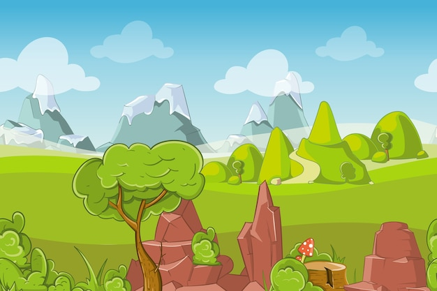 Natura Bezszwowe Wektor Krajobraz Ze Wzgórzami, Drzewami I Górami. Trawa Na Zewnątrz Nieba, Lato Kreskówka łąka, Ilustracja Panorama Sezonu Darmowych Wektorów