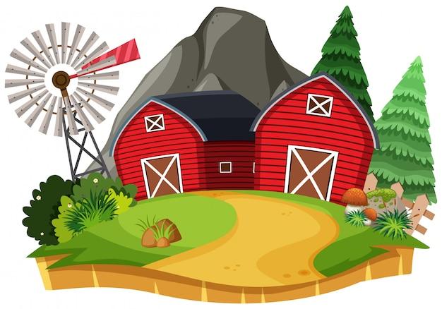 Natura krajobraz ziemi uprawnej z czerwoną stajnią Premium Wektorów