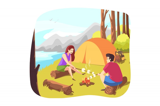 Natura, Podróże, Turystyka, Camping, Turystyka Premium Wektorów