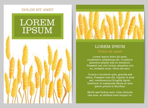 Naturalna ulotka rolnicza z kłosami pszenicy Premium Wektorów