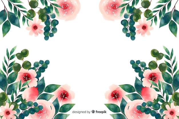 Naturalne tło z akwarela kwiaty Darmowych Wektorów