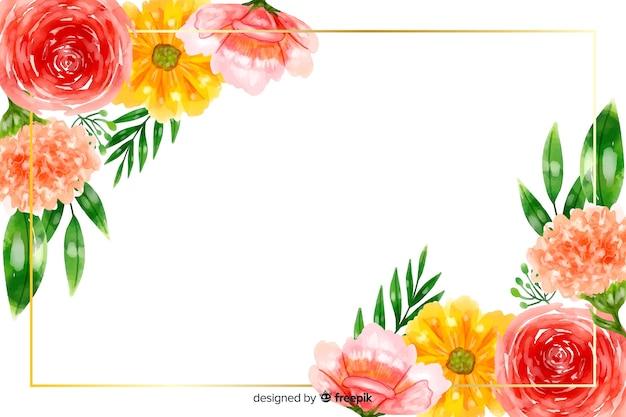 Naturalne tło z kolorowych kwiatów akwarela Darmowych Wektorów