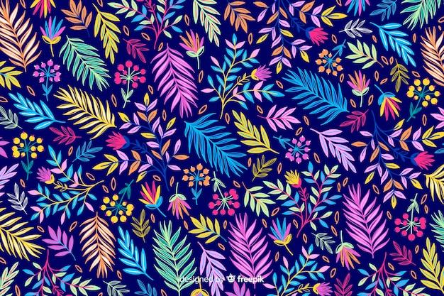 Naturalne tło z kolorowych kwiatów egzotycznych Darmowych Wektorów