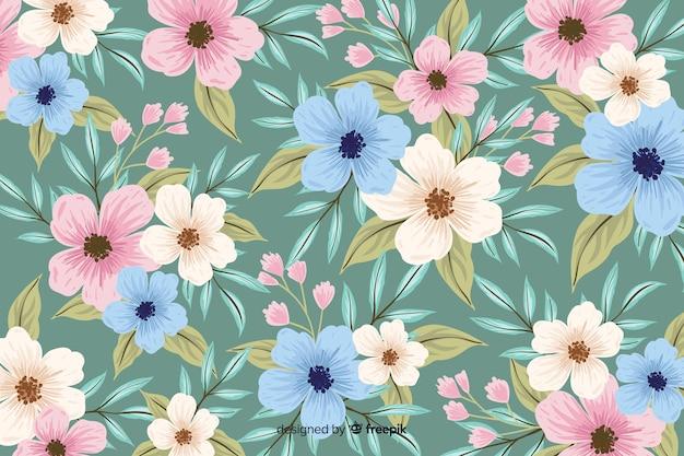 Naturalne tło z kolorowych kwiatów malowane Darmowych Wektorów