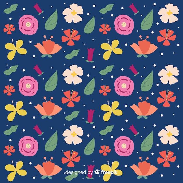 Naturalne Tło Z Płaskich Kwiatów Darmowych Wektorów