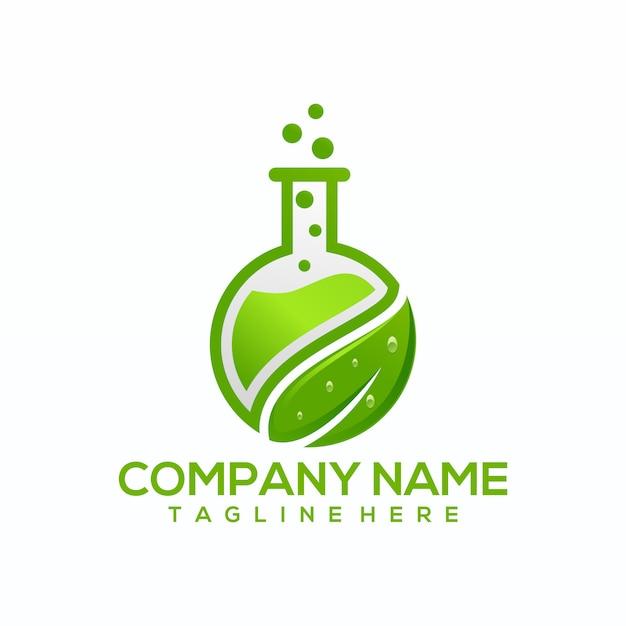 Naturalne zielone laboratorium logo wektor, szablon Premium Wektorów