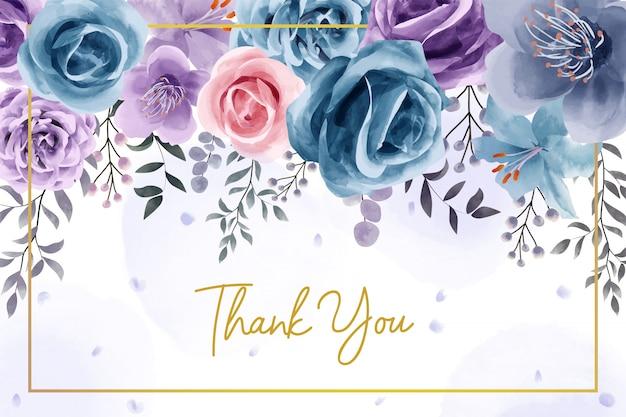 Naturalny kwiat akwarela dziękuję karty Premium Wektorów
