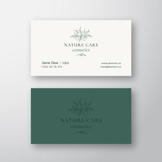 Nature Care Kosmetyki Wektor Znak Lub Logo I Szablon Wizytówki. Premium Wektorów