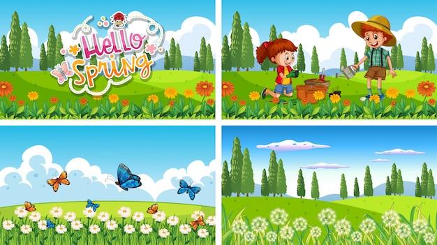 Natury Sceny Tło Z Chłopiec I Dziewczyną Robi Ogrodnictwu Darmowych Wektorów