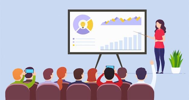 Nauczyciel biznesu kobieta prowadzi wykład prezentujący dane marketingowe Premium Wektorów