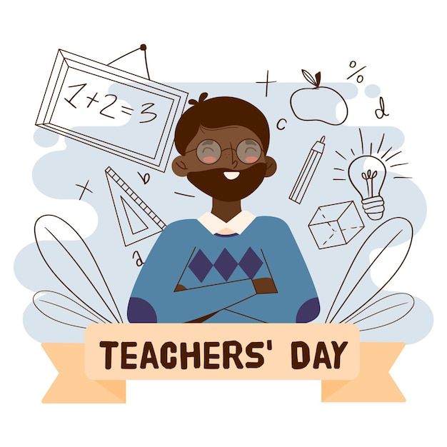 Nauczyciel Buźkę Na Ilustracji Dzień Nauczyciela Darmowych Wektorów