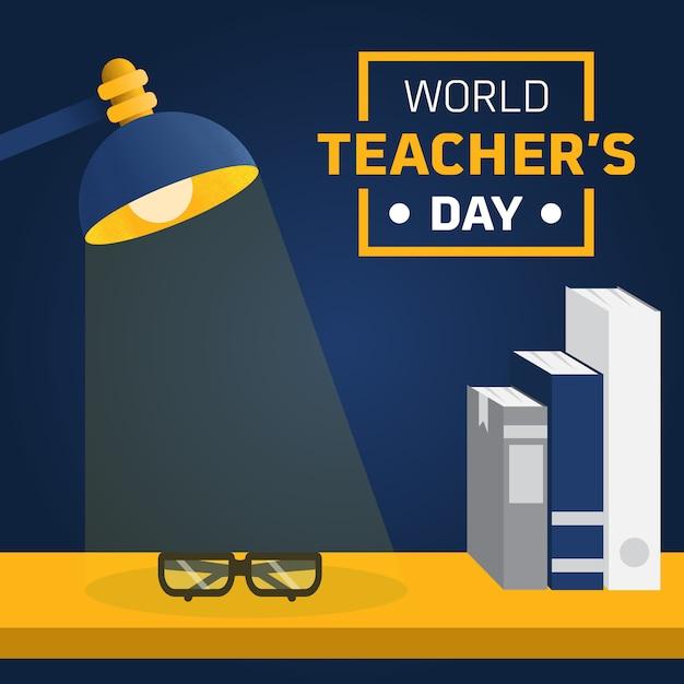 Nauczyciel i stół biurko lekka ilustracja niestandardowa Premium Wektorów