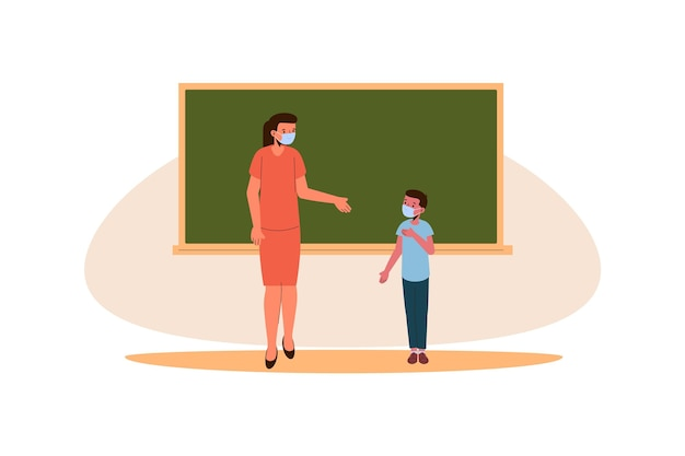 Nauczyciel I Uczniowie Noszący Koncepcję Maski Darmowych Wektorów