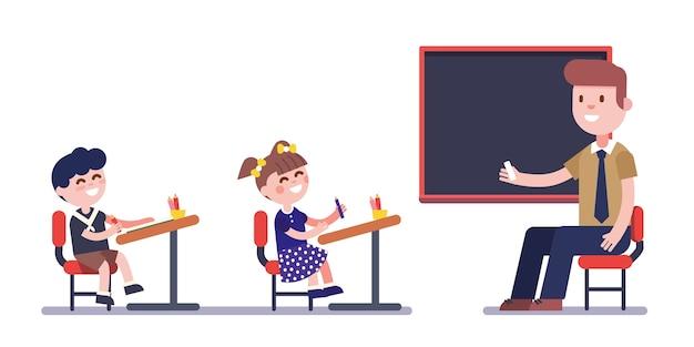 Nauczyciel Lub Tutor Studiujący Z Grupą Dzieci Darmowych Wektorów