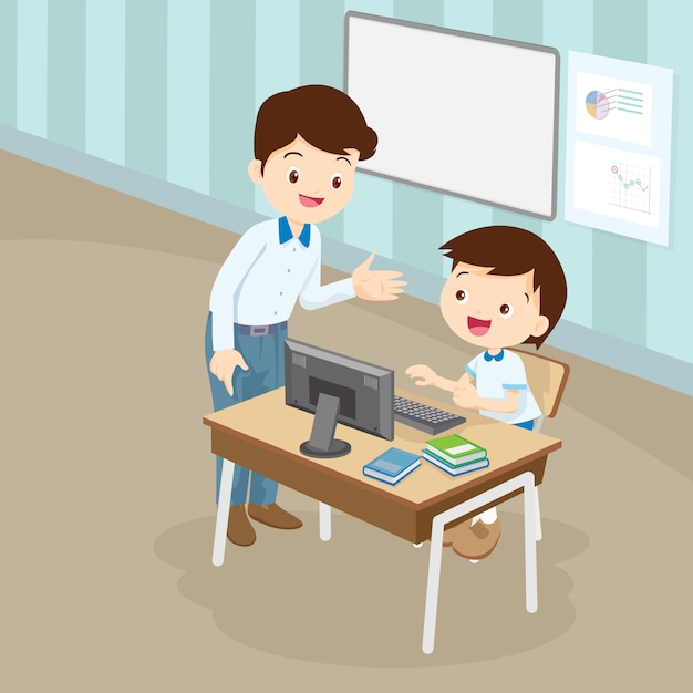 Nauczyciel nauczania komputera do chłopca ucznia Premium Wektorów
