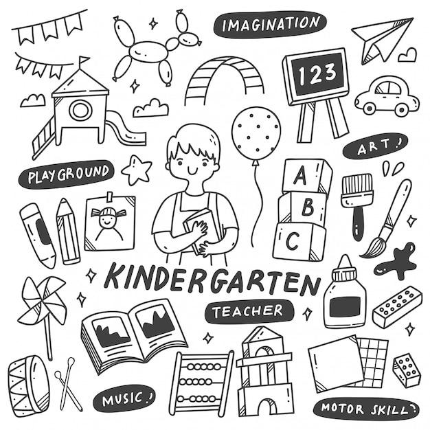 Nauczyciel Przedszkola I Zabawki W Doodle Ilustracji Premium Wektorów