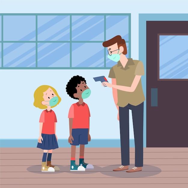 Nauczyciel Sprawdza Temperaturę Dzieci Darmowych Wektorów