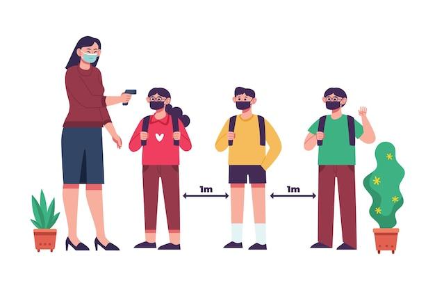 Nauczyciel Sprawdza Temperaturę Dzieci Premium Wektorów
