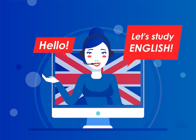 Nauczyciel Strony Internetowej O Nauce Języka Angielskiego Online Darmowych Wektorów