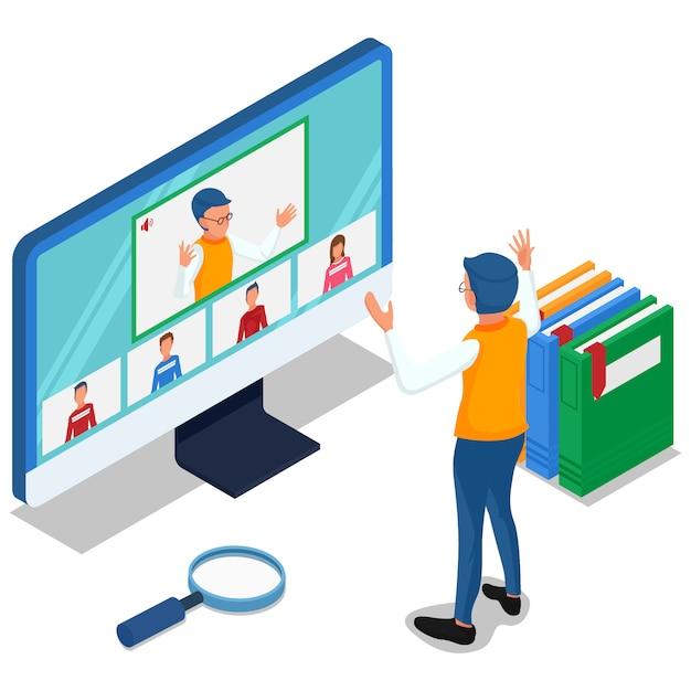 Nauczyciel Uczy Się Online Ze Swoim Uczniem Na Komputerze. Izometryczne Ludzie Z Ilustracją Spotkania Wideo Online. Wektor Premium Wektorów