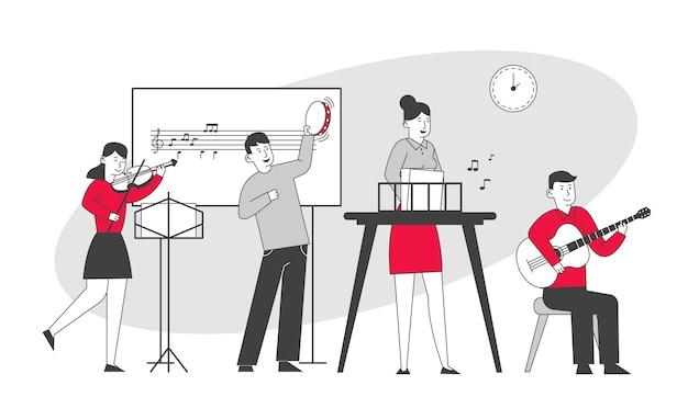 Nauczyciel W Szkole Muzycznej Dla Dzieci Na Lekcji Premium Wektorów