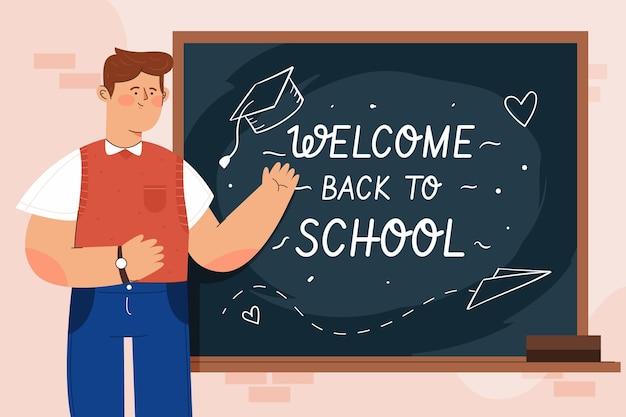 Nauczyciel Wita Z Powrotem W Szkole Darmowych Wektorów