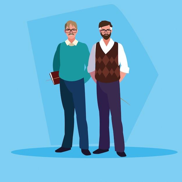 Nauczyciele mężczyźni awatar postaci Premium Wektorów