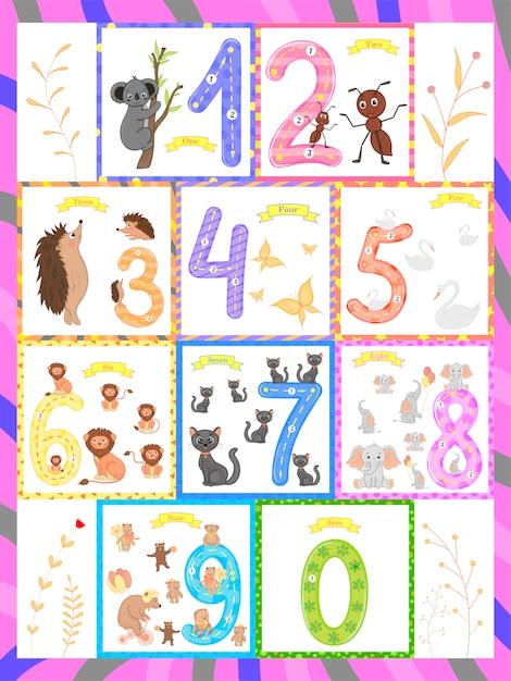 Nauka dzieci liczenia i pisania. badanie liczb 0-10 Premium Wektorów