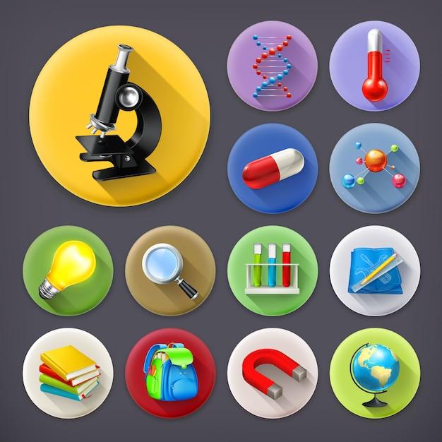 Nauka I Edukacja, Zestaw Ikon Długi Cień Premium Wektorów