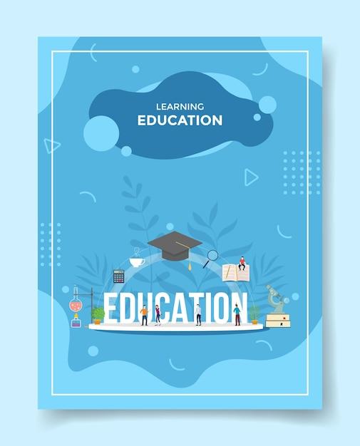 Nauka Koncepcja Edukacji Ludzi Wokół Czapki Słowo Edukacja Kapelusz Książka Kalkulator Mikroskopu Dla Szablonu Premium Wektorów