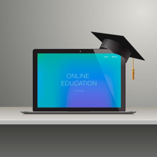 Nauka Online, Edukacja Online, Nauka Koncepcji, Ilustracja Premium Wektorów