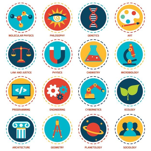 Nauki ikony obszarów zestaw z molekularnej fizyka filozofia genetyka sztuki izolowane ilustracji wektorowych Darmowych Wektorów