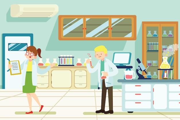 Naukowa Para Pracuje W Laboratorium Darmowych Wektorów