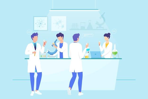 Naukowcy Pracujący W Badaniach Premium Wektorów
