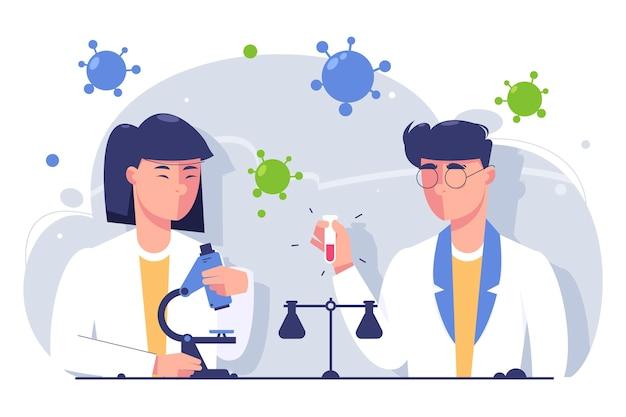 Naukowcy Pracujący Premium Wektorów
