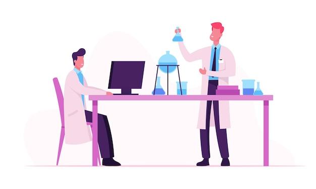 Naukowcy W Białych Fartuchach Laboratoryjnych Przeprowadzający Eksperymenty I Badania Naukowe W Laboratorium. Płaskie Ilustracja Kreskówka Premium Wektorów