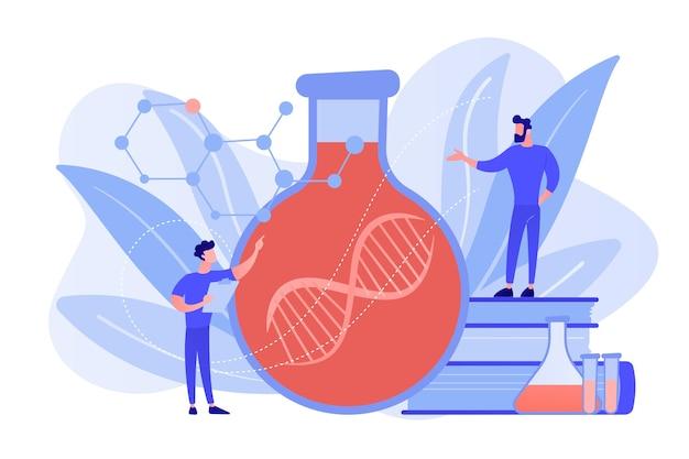 Naukowcy W Laboratorium Pracujący Z Ogromnym łańcuchem Dna W Szklanej Bańce. Terapia Genowa, Transfer Genów I Funkcjonująca Koncepcja Genów Na Białym Tle. Różowawy Koralowy Bluevector Ilustracja Na Białym Tle Darmowych Wektorów