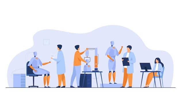 Naukowcy Wykonujący Roboty W Laboratorium Na Białym Tle Ilustracji Wektorowych Płaski. Kreskówka Ludzie Tworzą Sprzęt Komputerowy I Maszyny. Koncepcja Rozwoju Nauki I Technologii Darmowych Wektorów