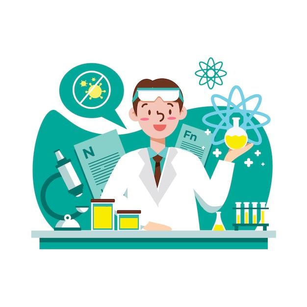 Naukowiec Pracuje Darmowych Wektorów
