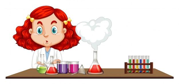 Naukowiec Robi Chemicznemu Eksperymentowi Na Stole Darmowych Wektorów