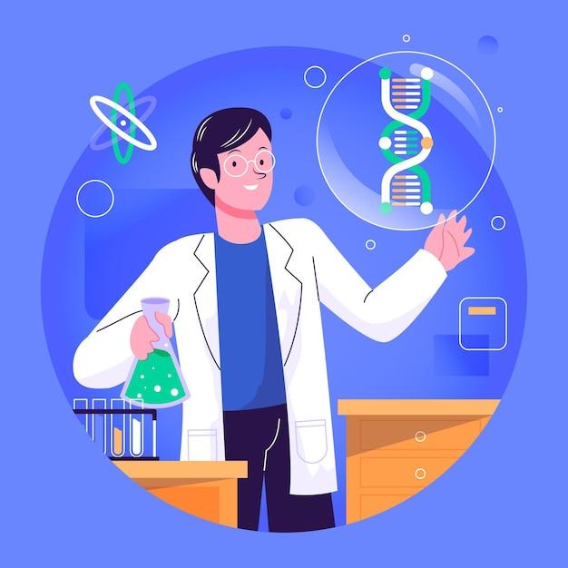 Naukowiec Trzyma Dna Molekuły Ilustracyjne Darmowych Wektorów