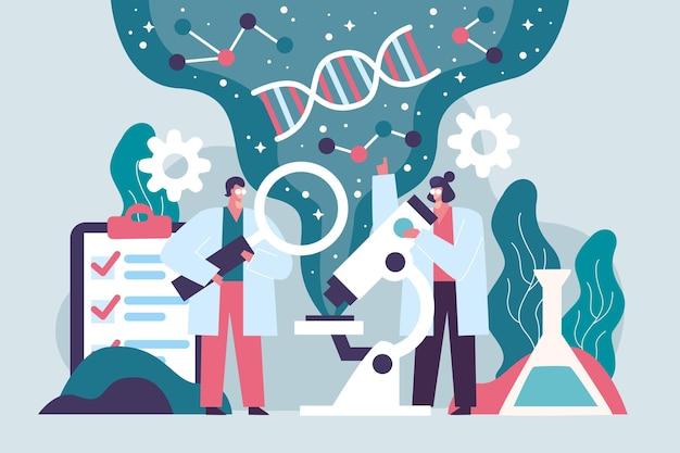 Naukowiec Trzyma Pojęcie Molekuł Dna Darmowych Wektorów