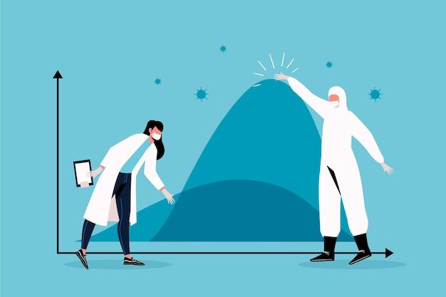 Naukowiec W Kombinezonie Ochronnym Spłaszcza Koncepcję Krzywej Darmowych Wektorów