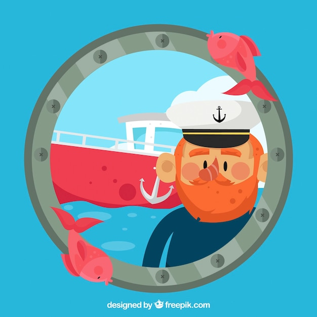 Nautyczne tło z kapitana i łodzi Darmowych Wektorów