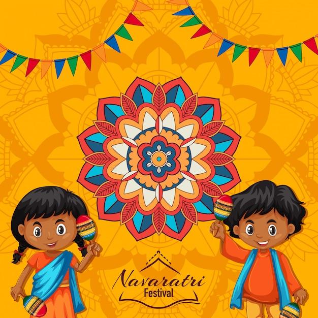 Navaratri Plakat Z Mandali I Szczęśliwe Dzieci Darmowych Wektorów