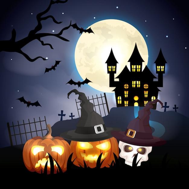 Nawiedzający Kasztel Z Baniami W Halloween Sceny Ilustraci Premium Wektorów