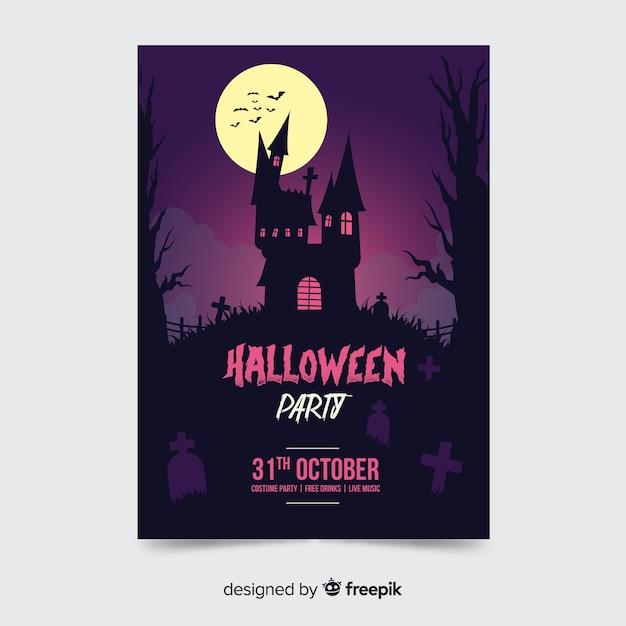 Nawiedzony Dom Halloween Party Plakat Szablon Darmowych Wektorów